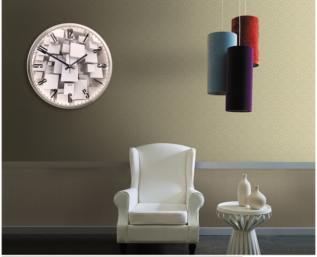 Modernism City style 3d Metal wall clock Super Mute Watches and clocks