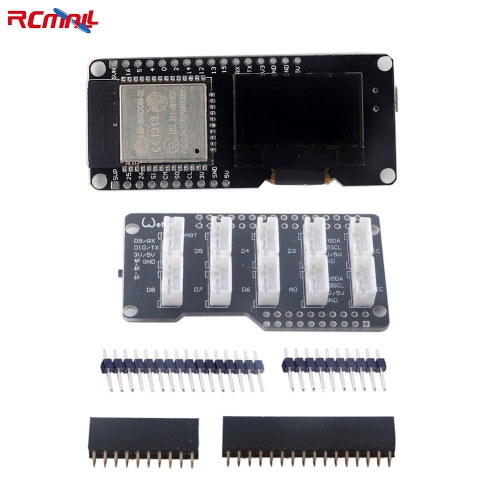 RCmall ESP8266 ESP-Wroom-32 Wifi Bluetooth Module 1.3OLED LCD Display with Base Board for Arduino IOT ESP-32 FZ2779