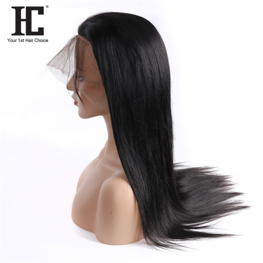 HC 360 Lace Front Human Hair Wigs With Pre Plucked Baby Hair Natural Black Brazilian Straight Remy Hair Lace Wigs 150% For Women