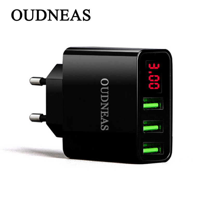 OUDNEAS Mobile Phone Charger EU Plug 3 USB LED Display for apple 7 3A Fast Charging Wall Charger for iPhone Samsung Universal
