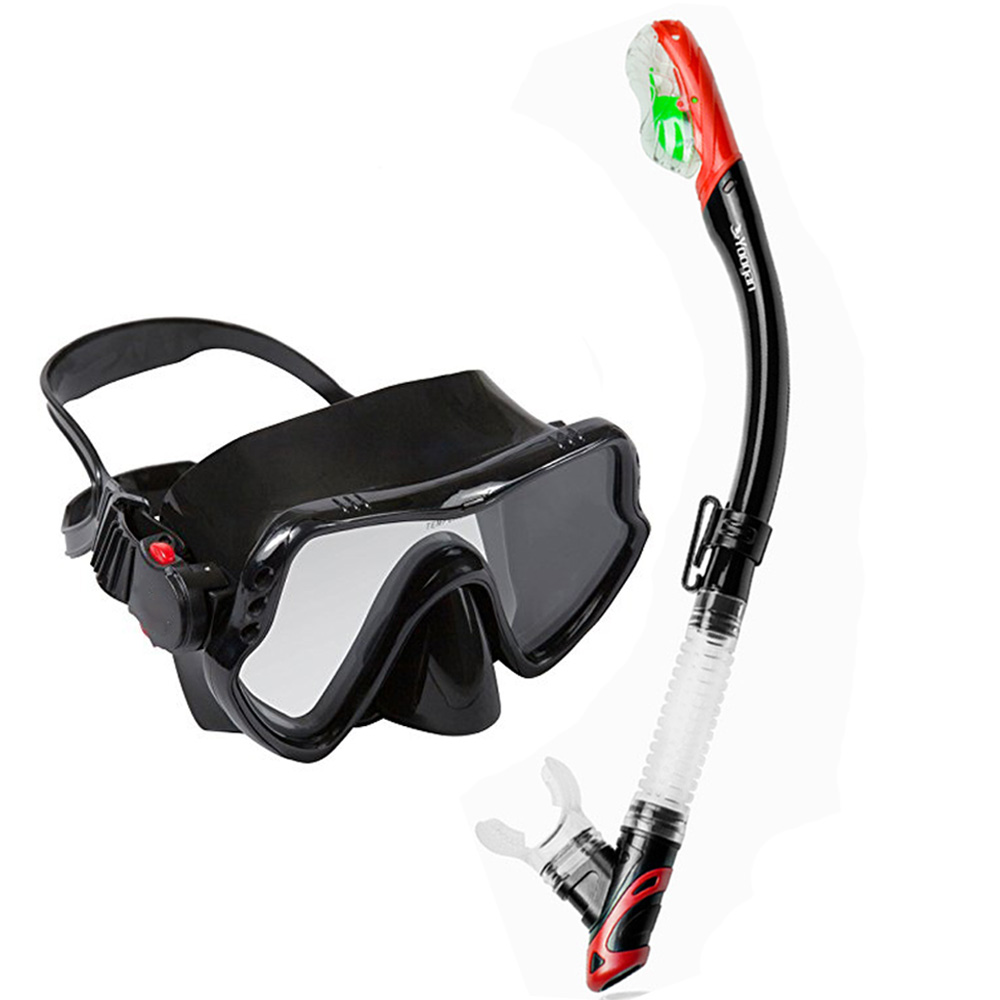 Top snorkeling gears dive mask dry snorkel set tempered glass scuba mask summer vacation diving swimming gears for audlt diving tempered glass myopia snorkel set adult scuba diving mask gopro camera mount dry diving set deepgear brand scuba snorkel gears