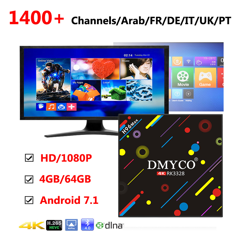 Italy Spain Germany iptv Box H96 Pro Max 4G/64G RK3328 Android 7.1 TV BOX Portugal HD Smart TV Box +1 Year Europe 1400+ Channels kii pro android 5 1 1 tv box built in 2 4g
