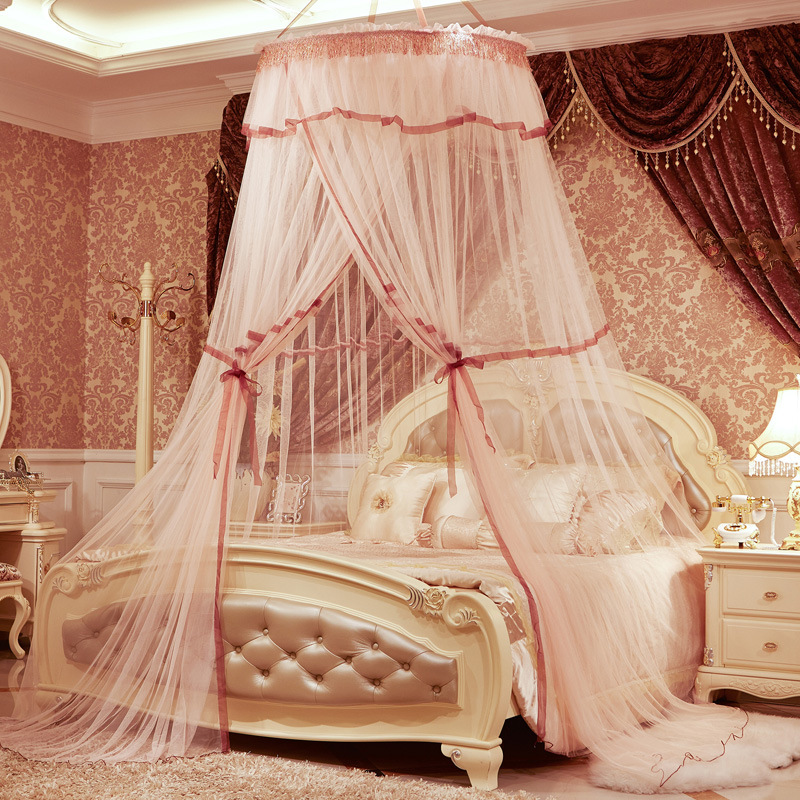 Urijk 1PC Romantic Princess Luxury Mosquito Net Insect Bed Canopy Netting  Lace Round Mosquito Nets Hung