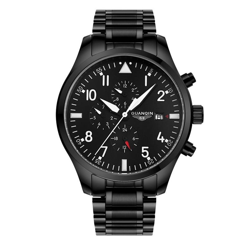 Original GUANQIN Fashion Multifunction Men Watch Top Brand Automatic Watch Men 24hours calendar week Luminous Mechanical