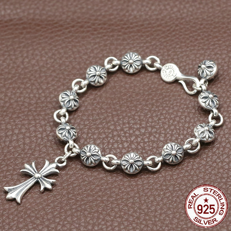 100% S925 sterling silver bracelet personality fashion retro punk style crusader flower ball shape to send a gift of love hot100% S925 sterling silver bracelet personality fashion retro punk style crusader flower ball shape to send a gift of love hot