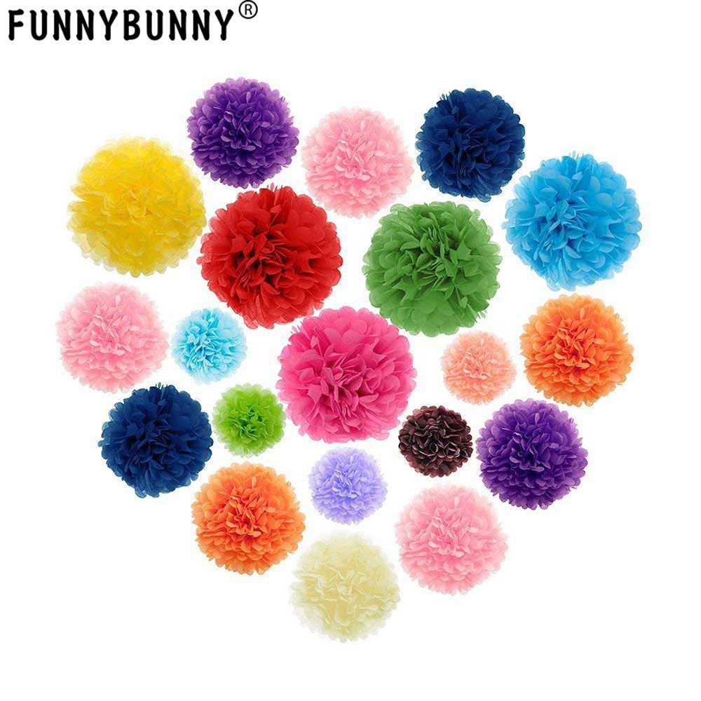 Funnybunny 13 Cm Kertas Tisu Pom Pom Bunga Bola untuk Pernikahan dan Pesta Luar Ruangan dan Dekorasi Pesta Ulang Tahun Pernikahan perayaan