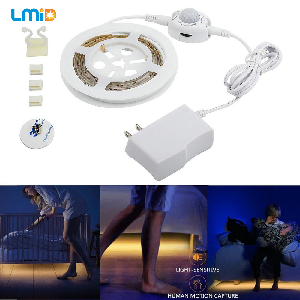 LED Night Light strip inteligente encienda off Fita de LED luz impermeable smd2835 bandeau LED dormitorio PIR motion sensor luz de tira del LED