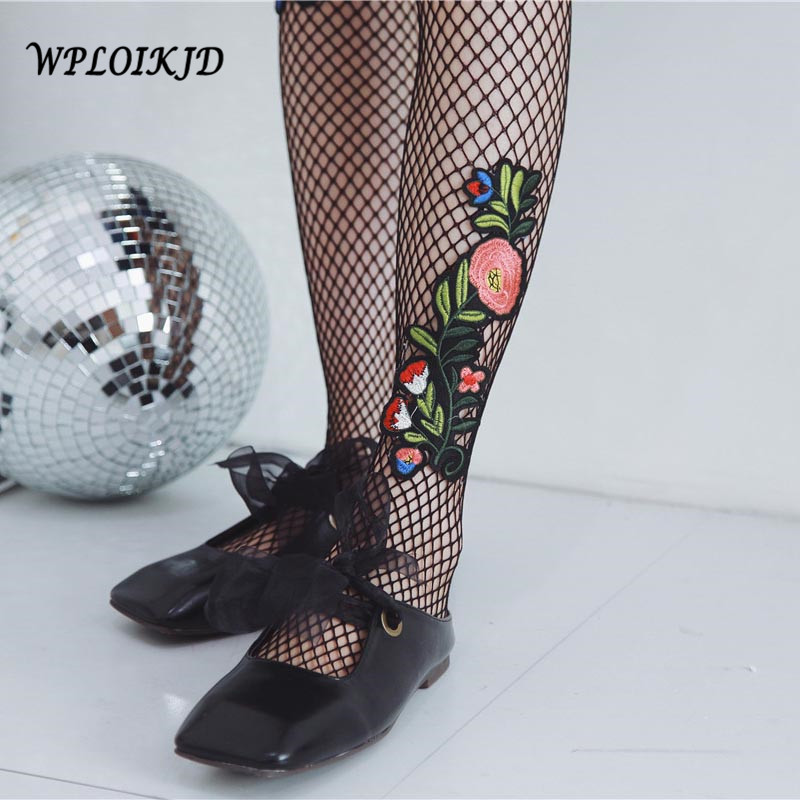 [WPLOIKJD]Harajuku Sexy Hollow Fish Net Stockings New Embroidery Flowers Pattern Pantyhose Fishnet Tights Women Mesh Meias