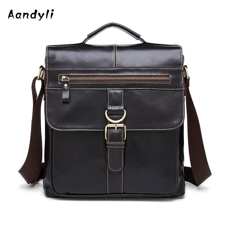 Leather Handbags Men Crossbody bag Cowhide Men s single shoulder bag I Messenger Bags