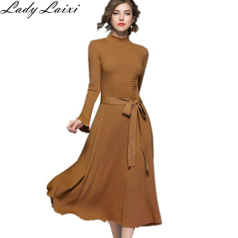 Sweater Dress Women Autumn Winter 2018 Jumper Long Flare Sleeve Casual Slim Women Knitted Midi Dress Vestido De Festa