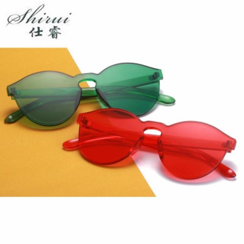 Rimless Sunglasses Ladies Round Transparent Glasses Men Women Eyewear Vintage Red Yellow UV Sun Glasses Gift Bear Pendant in Women 39 s Sunglasses from Apparel Accessories