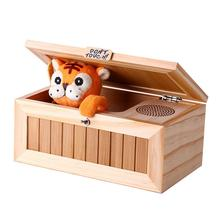 wooden useless box leave me alone box most useless machine don t touch tiger toy gift with sound Wooden Electronic Useless Box Tiger Funny Toy Box Kids interactive toy Gift with Sound Desk Decoration