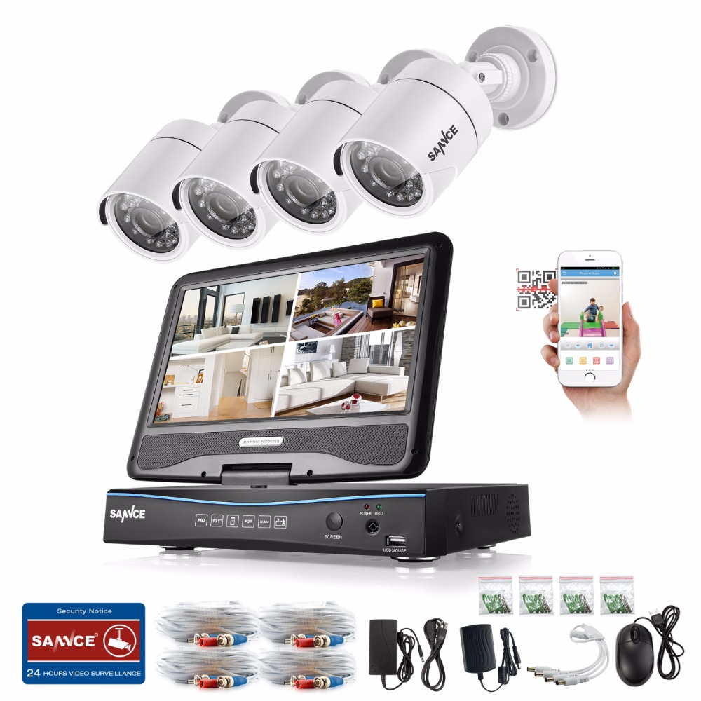 SANNCE 4CH 720P Security Camera System with Build-in 10.1 LCD Monitor and 1.0MP 1280TVL HD IR Outdoor Surveillance Camera bullet camera tube camera headset holder with varied size in diameter