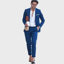 Blue Suit Men Blazer Wedding Groom With Pants Terno Tuxedo Smart Casual Street terno Slim Fit Jacket Costume Homme 2pcs