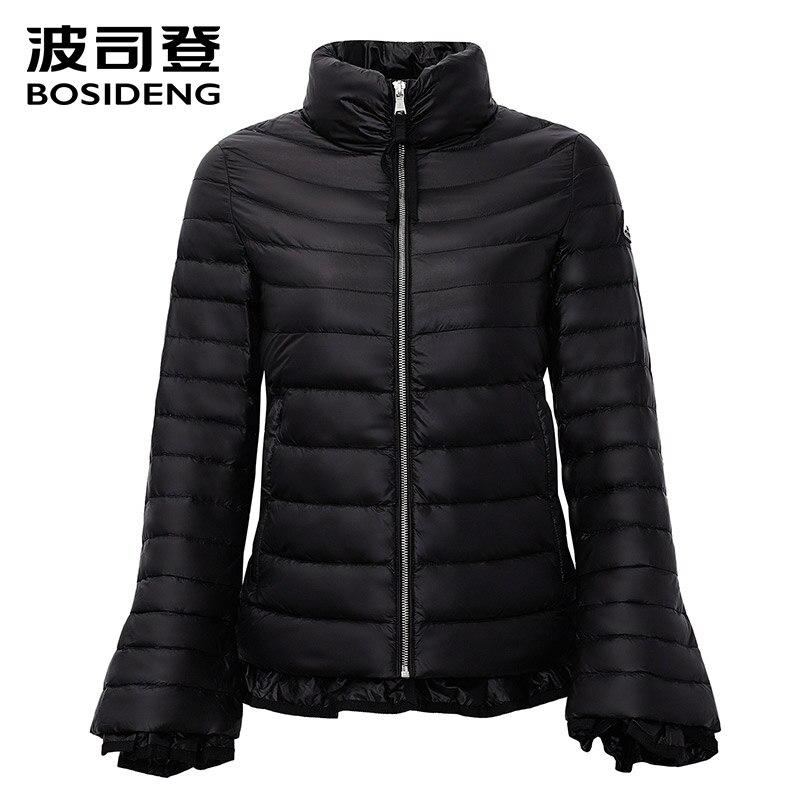 BOSIDENG Women fashion thin down coat sweet coat top coat clothing jacket outwear ladies's Clothing ruched ultra light