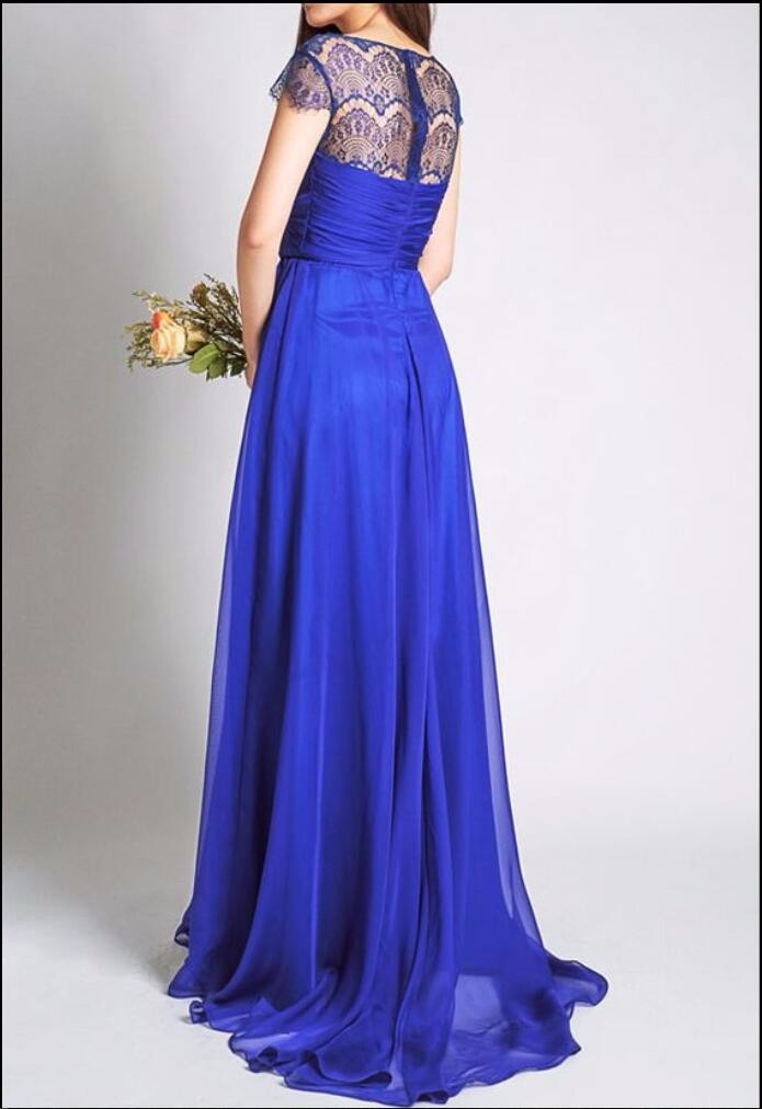 Royal Blue With Cap Sleeves Lace Chiffon A-line Wedding Party Long Bridesmaid Dress 2