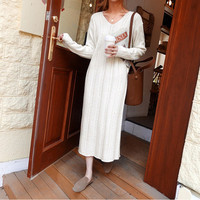 2019 Autumn Woman Elegant Beige V neck Long Sweater Dress Knitted Hemp Flowers Dress Bow Lace Up