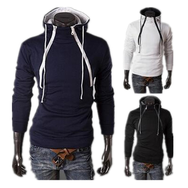 Plus Size M to 4XL Hoodies 2016 Brand New Hot Sale Sweatshirt Casual Mens Hoodie Fashion Front Double Zipper Design Men Fleece