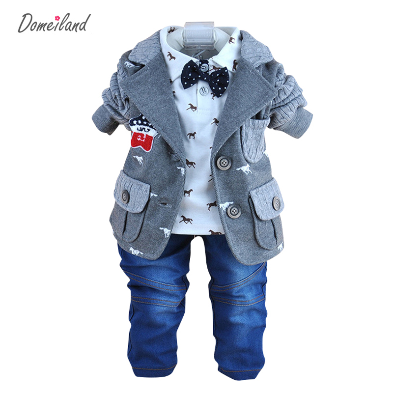 2017 spring domeiland fashion baby clothing for 3 pcs outfits boy clothes jackets suits polo bow shirts cotton jeans pant sets
