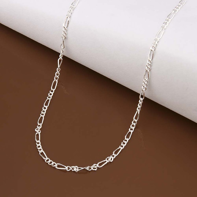 16-24inch Chain Necklace Jewelry 2M 3:1 Thin Link Chain Silver Tone Maxi Necklace For Women & Men Fashion Jewelry Accessories