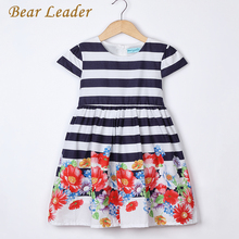 Bear Leader Girls Dress 2017 Brand Girl Summer Dresses Kids Short Sleeve Flowers Striped Pattern Knee-Length for Princess Dress