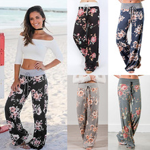 Ladies Floral Print Wide Leg Pants Women Long Drawstring Casual Loose Pant 2019 Spring Boho Beach Elastic High Waist Trousers trendy floral print elastic waist wide leg pants for women
