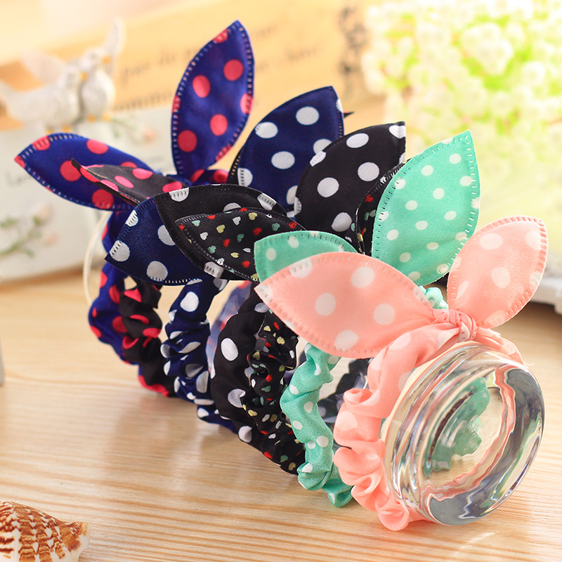 10PCS/lot Fashion Girls Hair Band Mix Styles Polka Dot Bowknot Rabbit Ears Elastic Hair Ropes Ponytail Holder for Woman Headwear