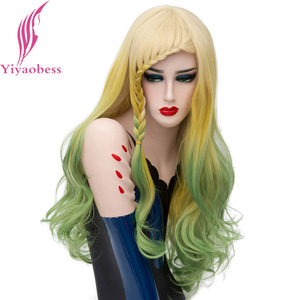 Image 3 - Yiyaobess Synthetic Colorful Long Braided Wigs For Women Rainbow Braiding Hair Natural Yellow Green Ombre Cosplay Wig With Bangs