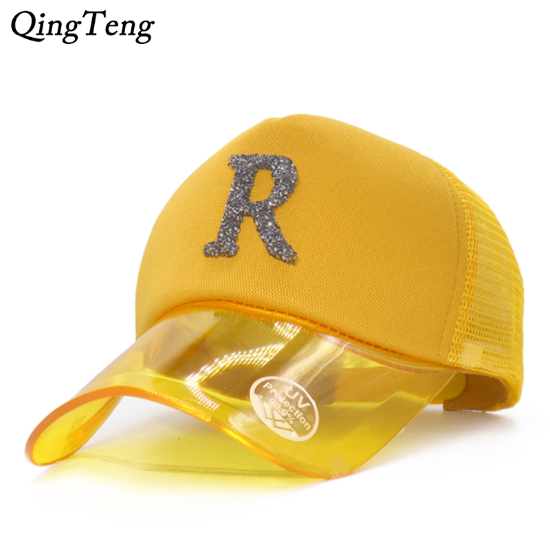 Summer Women Rhinestone Letter   Baseball     Caps   For Girl Breathable Mesh Female Snapback Hats UV Transparent Visor Men   Cap