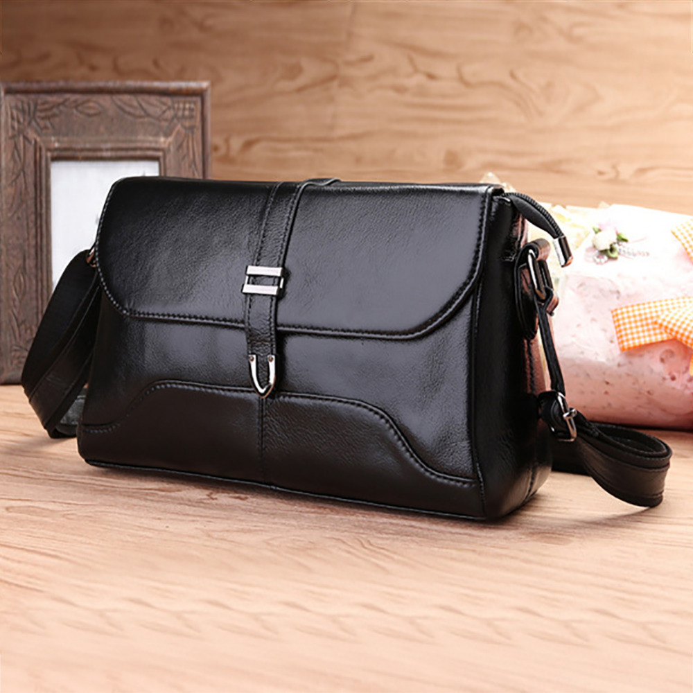 100% Genuine Leather First Layer Cowhide Messenger Bags For Women Famous Brand Ladies Casual Cross Body Sling Shoulder Bag