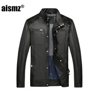 Aismz Faur Leather Winter Jacket Men Warm Thicken Stand Collar Bomber Jacket Men S Coats Casual