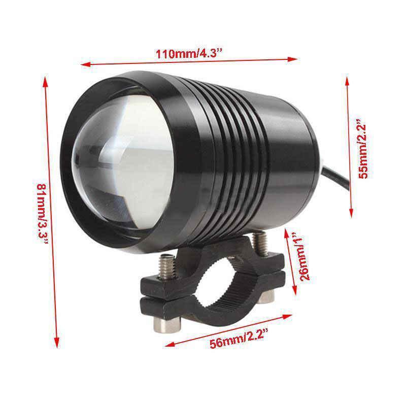 2pcs 30W U2 LED Motorcycle Motorbike HeadLight High Low Flash Spot Headbeam Bulb light with LED lamp Driving Fog light+switch