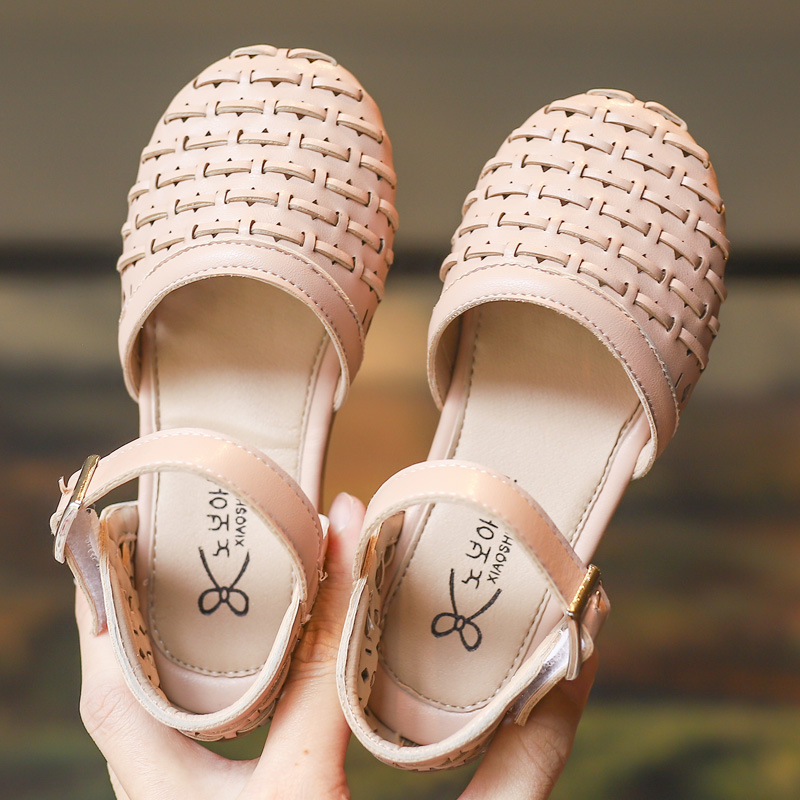 2019 Child Leather Shoes Flat Weaving Hollow Spring Summer Girl Shoes For Kids Princess Shoes 1 2 3 4 5 6 7 8 9 10 11 Year Old