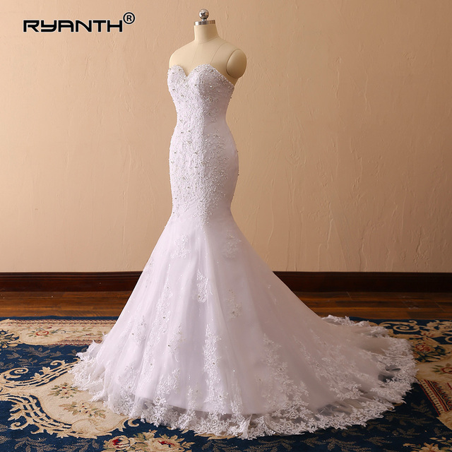 Sparkly Robe De Mariage 2019 Luxury Lace Mermaid Wedding Dress Vestido De  Noiva Cheap Sexy Vintage Sweetheart Wedding Gowns 960247e95187