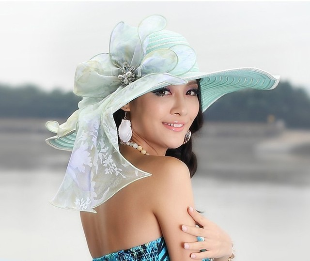 e63d98a0d95 2017 Free Shipping Women Derby Church Wedding Beach Cocktail Evening Sun Hats  Dress Wide Brim Vintage