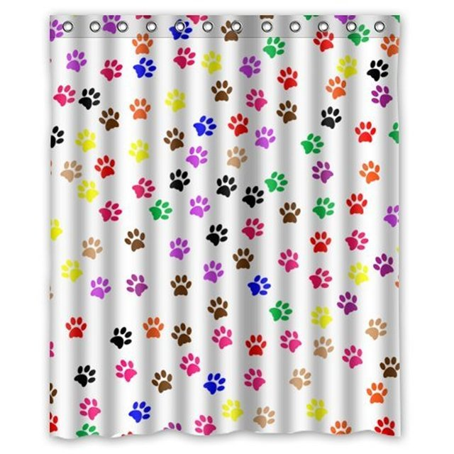 Colorful Pattern Animal Paw Print Dog Design Mildew Proof Polyester Fabric Shower Curtain