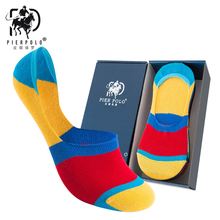 PIER POLO Men Cotton Ankle Socks Men's Business Casual Solid Black White Colored edges Short Socks Male 5 Pairs/lot for Summer