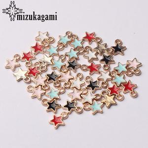 Stars Charms Finding-Accessories Jewelry-Making White Mini for DIY Black 6mm 50pcs/Lot