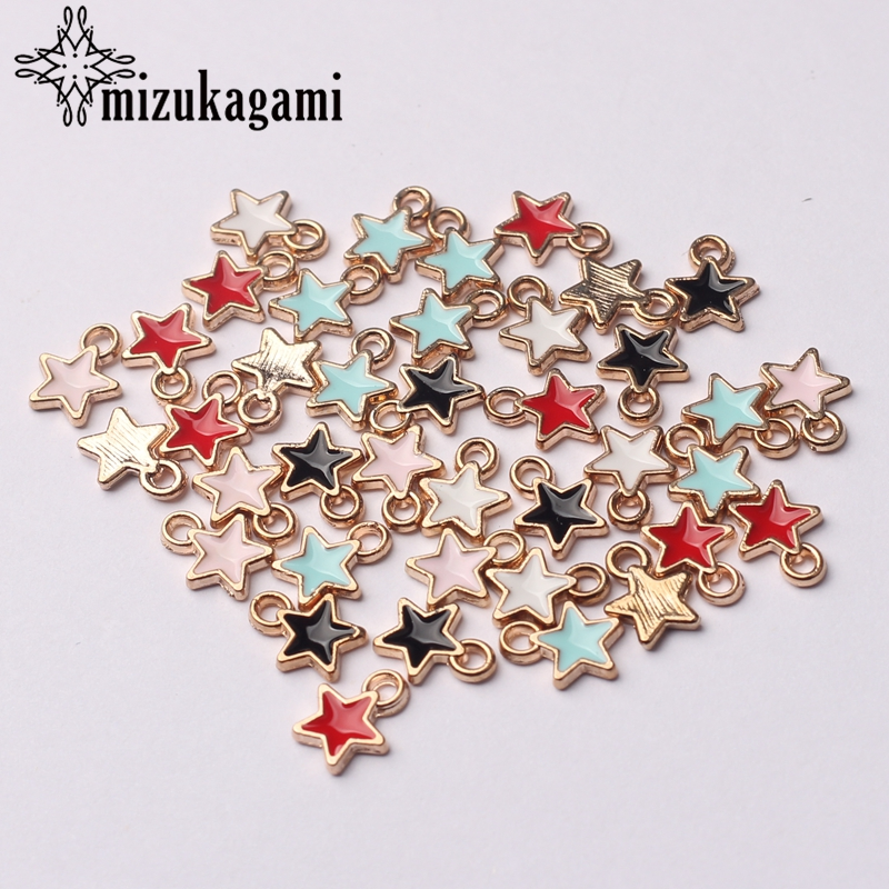 Zinc Alloy Black White Enamel Charms Mini Stars Charms 6mm 50pcs/lot For DIY Jewelry Making Finding Accessories