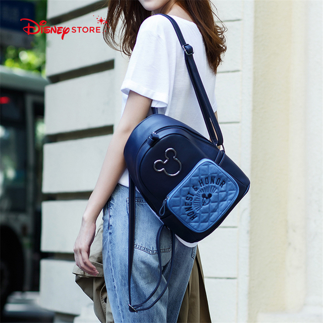 9768b12bf31f Disney Mickey Mouse Women s Backpack Brand Fashion High Quality PU Leather  Schoolbag Bags for Teenager Girl Student Bag A249