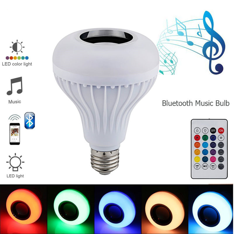2018 Led-lampe E27 RGB Lampe mit Sound Lampada Bluetooth Glühbirne Lautsprecher Musik Player Audio Smart 220V Led lichter für hause