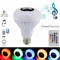 2018 LED ampoule E27 RGB lampe avec son Lampada Bluetooth ampoule haut-parleur lecteur de musique Audio Smart 220V LED lumières pour la maison