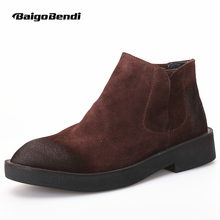 EUR Size 38-44 Suede Leather Mens Fur Lined Classic Chukkas Ankle Boots Causal Winter OXfords