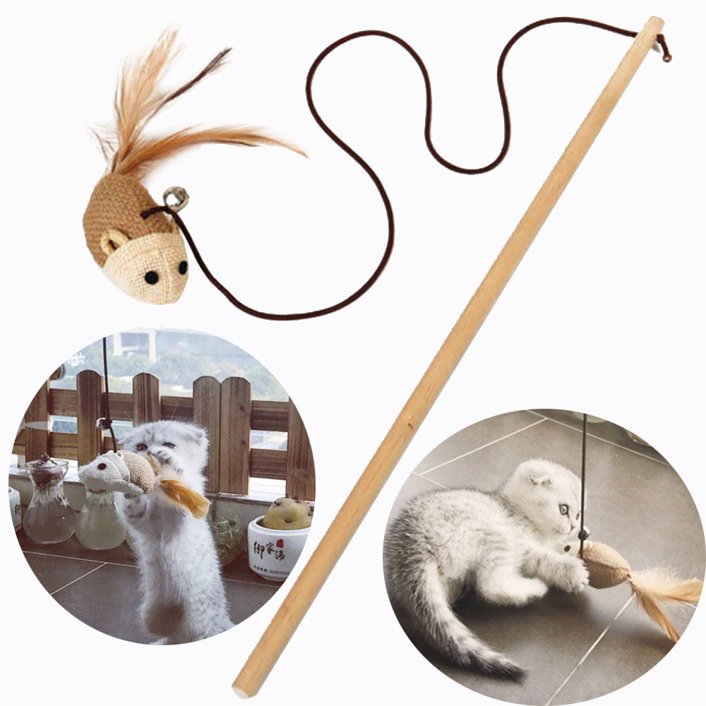 Hot sale Kitten Cat Pet Toy Chaser Stick Mouse Fish Ball Interactive Play Fun Toys for
