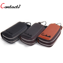 CONTACT S Housekeeper Genuine Leather men key wallet Housekeeper Key Holder Car Case Chain Holder double