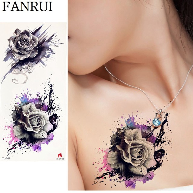 20 Style 3d Rose Temporary Tattoo Sticker Flower Women Chest Flower
