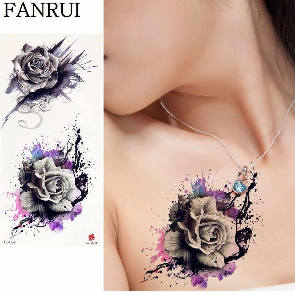 20 Style 3D Rose Temporary Tattoo Sticker Flower Women Chest Flower Fake  Tatoos Girl Body Neck Art Waterproof Tattoo Drawing