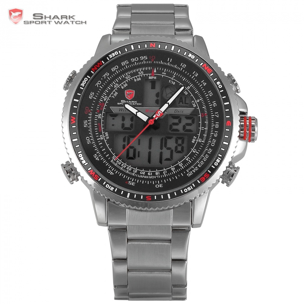 Luxury Winghead SHARK Sport Watch Men Black Dual Time Date Alarm Steel Band Relogio Masculino LCD Quartz Digital Watches /SH325N top brand luxury digital led analog date alarm stainless steel white dial wrist shark sport watch quartz men for gift sh004