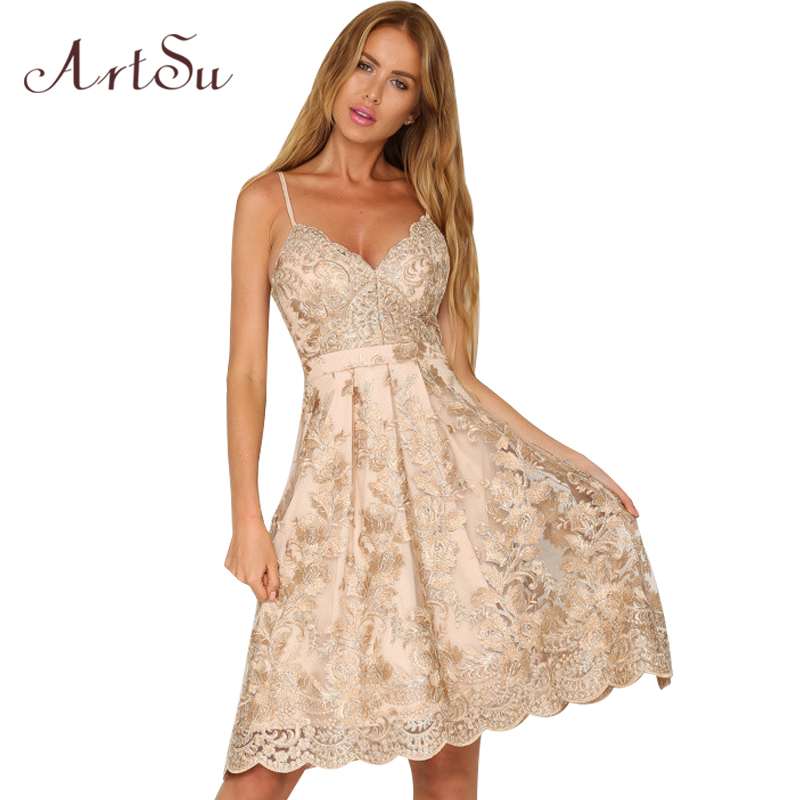 ArtSu Embroidery Women Sexy Midi Dress Lace Off Shoulder Robe Deep V neck Strap Beach Dresses Backless Party Vestidos ASDR30071