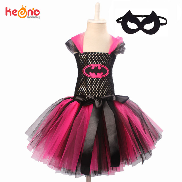 a886799f24502 Hot Pink Batgirl Girls Tutu Dress with Mask Super Hero Inspired Children  Cosplay Costume Kids Halloween Party Dress